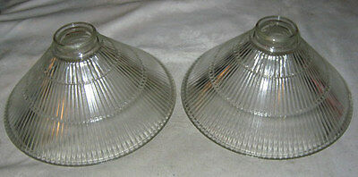 2 Industrial Ribbed Glass Home Patio Garden Bar Tavern Light Lamp Art Shade Tool
