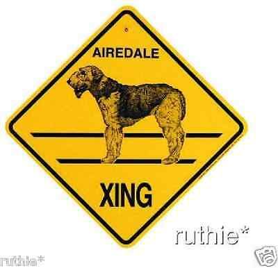 Airedale Dog Crossing Xing Sign New