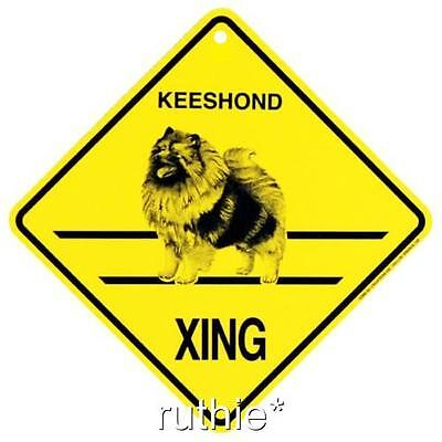 Keeshound Dog Crossing Xing Sign New