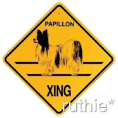 Papillon Dog Crossing Xing Sign New