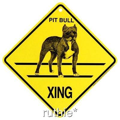 Pit Bull Dog Crossing Xing Sign New Made in USA