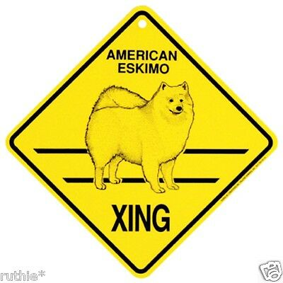 American Eskimo Dog Crossing Xing Sign New Made in USA
