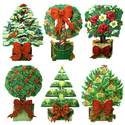 36 Topiary Die-cut Christmas Tree Card with Raised Paper Bow XC0011