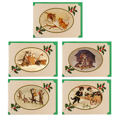 125 Victorian Cats & Kittens Blank Christmas Petite Gift Cards XG0034