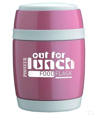 Grunwerg Pioneer 0.35L Vacuum Food Flask Lunch Box Pink Stainless Steel