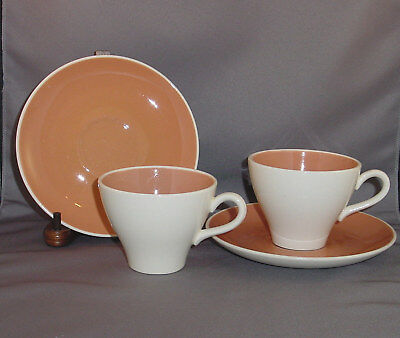 Harker Harkerware COUNTRY CHARM 2 Cups & Saucers CORAL