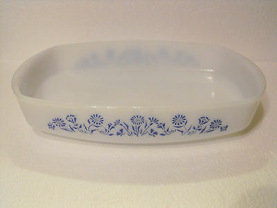 Federal Glass Baking Loaf Dish Blue Floral Heat Proof