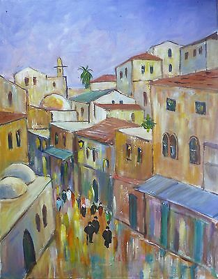 Street in Religious City of Jerusalem,Original Oil Painting, Israel Holy Land