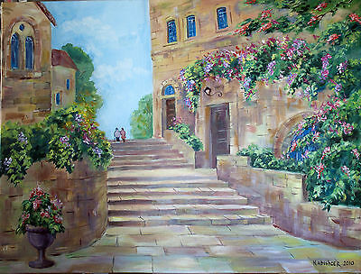 Stairway in Religious City of Jerusalem, Original Oil Painting, Israel Holy Land