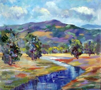 Mountains of Galilee & Jezreel Valley Original Oil Painting, Israel Holy Land