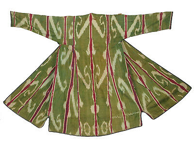 antik Usbekische afghan Ikat Mäner Mantel Antique women's silk coat chyrpy No:9