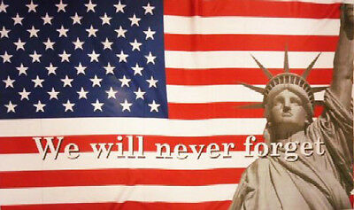 WE WILL NEVER FORGET FLAG 5' x 3' USA 911 US Lest We Forget Twin Towers TO CLEAR