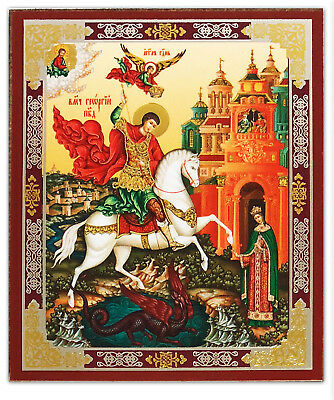 """Saint St George Dragon Icon 3"""" Russian Wood Gold Silver Foil"""