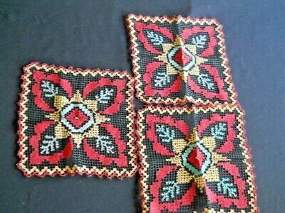 Antique table top set  Needle Lace Red Blue Black  20's Embroidery on Netting