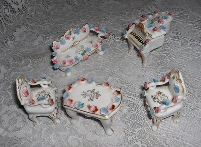 6 Pc Vintage Miniature Doll House Porcelain Furniture Piano Chairs Japan NICE