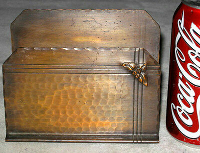 Antique Arts & Crafts Craftsman Studios Hand Hammered Letter Paper Rack Holder