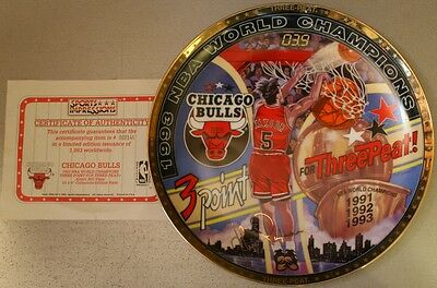 1993 Chicago Bulls NBA World Champions John Paxson Gold LTD Edition Plate
