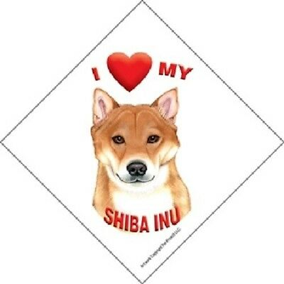 I love (heart) My Shiba Inu Hanging Sign with Suction Cup In Color Made USA