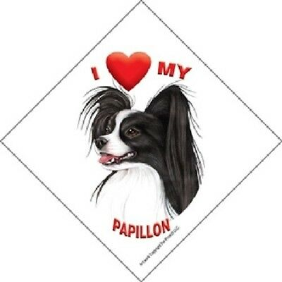 I love (heart) My Papillon Hanging Sign with Suction Cup In Color Made USA
