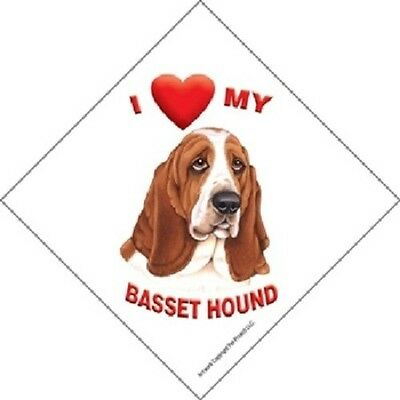I love (heart) My Basset Hound Hanging Sign with Suction Cup Color Made in USA