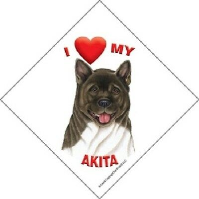 I love (heart) My Akita Hanging Sign with Suction Cup In Color Made in USA