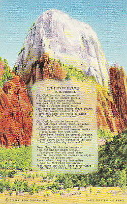 Great White Throne Zion Park Utah - 1941 Linen Postcard