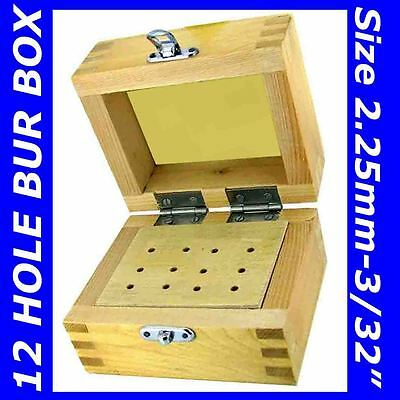 Wooden Bur Stand Wood Box Storage 12 Drills Brush Abrasive Rotary Flexshaft Tool