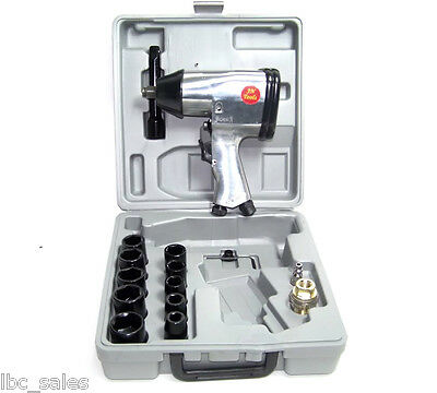 "17 Pc 1/2"" Drive Air Impact Wrench With Socket Air Tools"