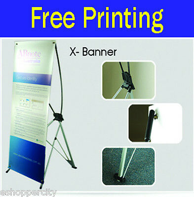 "Trade Show X BANNER Pop Up Stand Display Free Printing Made in USA 24"" x 62.5"""