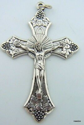 The Body and Blood Of Lord Jesus Christ Cross Crucifix Silver P Made In Italy!