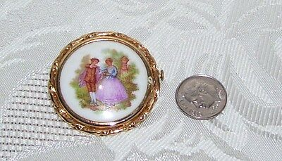 "Vintage Victorian Style Man & Woman Brooch Pin W Markings 1 And 1/2"" Diameter"