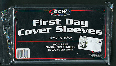 100 BCW First Day Cover Sleeves 3 15/16 x 6 7/8