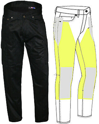 """Motorcycle Armoured Kevlar Lined Cargo Jeans Pants Black 32 """"waist"""