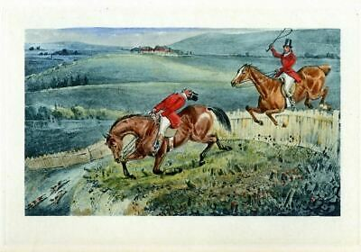 Hunting Fox, Antique Sporting Scene, Horses Jumping Fence Print By Henry Alken