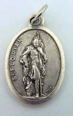 """Saint St Florian Medal Pendant Silver Plated Made In Italy Catholic Gift 1"""""""