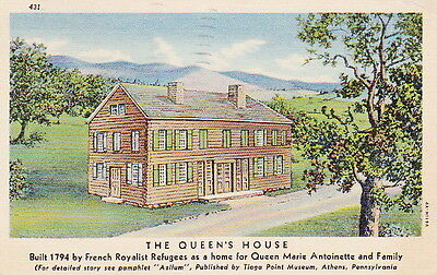 1794 QUEENS HOUSE ATHENS PA - 1956 Dated LINEN POSTCARD