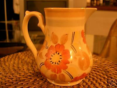 Vintage Hand Painted Wade Jug With Garden Flowers Deco
