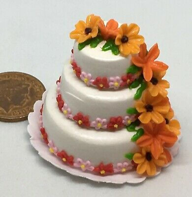 1:12 Scale Floral Patterned 3 Tier Wedding Cake Tumdee Dolls House Miniature R