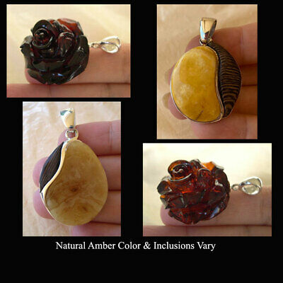 BALTIC AMBER ROSE CARVED or AFRICAN WENGE WOOD STERLING SILVER HANDMADE PENDANT