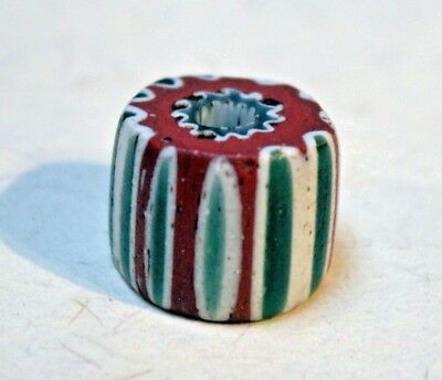 Rare Antique Venetian Seven Layer Green Chevron Italian Glass Bead African Trade