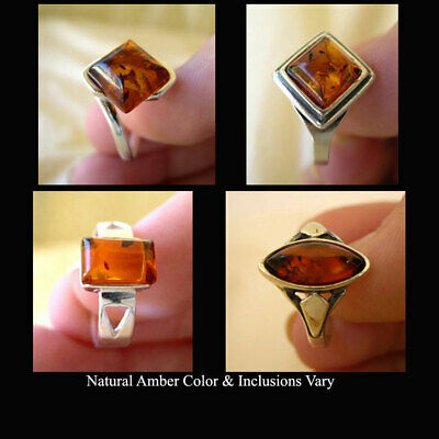 Baltic Honey Amber & Sterling Silver Solitaire Ring Various Styles & Sizes