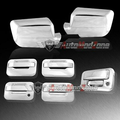 04-08 Ford F-150 Chrome 4 Door Handle +Tailgate +Mirror Cover Combo w/o Keypad