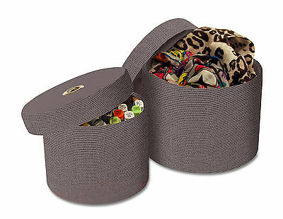2 Round Storage Boxes with Lids in Grey