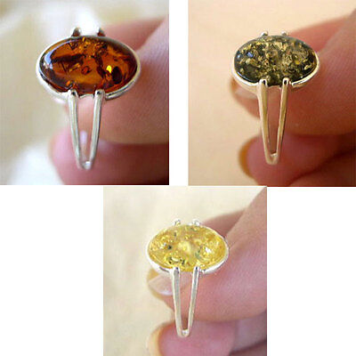 BALTIC LEMON, GREEN or HONEY AMBER STERLING SILVER SOLITAIRE RING VARIOUS SIZES