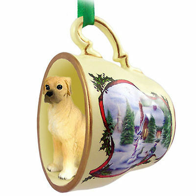 Great Dane Dog Christmas Holiday Teacup Ornament Figurine Fawn Uncrop
