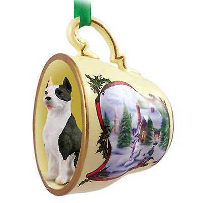 Pit Bull Terrier Dog Christmas Holiday Teacup Ornament Figurine Brindle