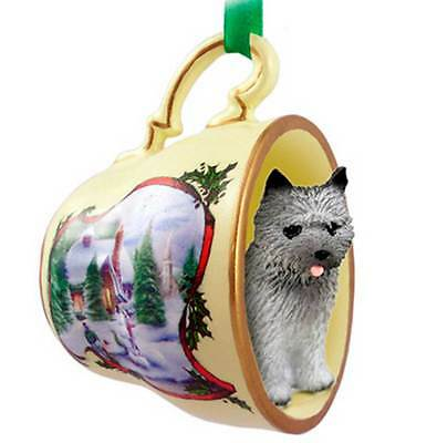 Cairn Terrier Holiday Teacup Ornament Snowman Figurine Gray