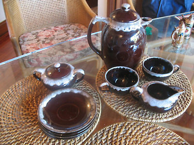 Near Vintage Japanese Pottery Coffee Set  11 Pieces