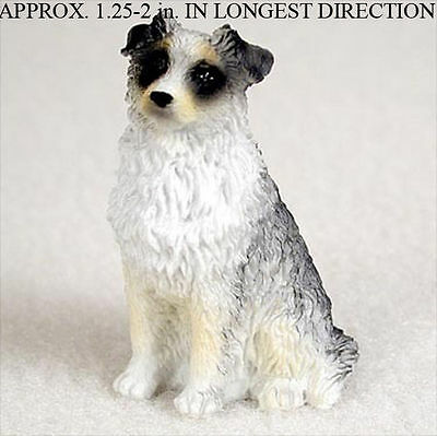 Australian Shepherd Mini Resin Hand Painted Dog Figurine Blue