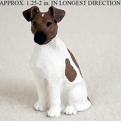 Fox Terrier Mini Hand Painted Figurine Brown/White